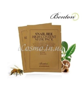 Маска улиточная с пчелиным ядом Benton Snail Bee High Content Mask, 10шт.