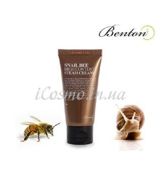 Крем улиточный с пчелиным ядом Benton Snail Bee High Content Steam Cream, 50 г.